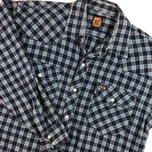 Kodiak men blue cozy plaid flannel shirt Sz L